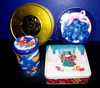 4 Decorative Collectible Tin Canisters - Gift Candy or Cookie Holders