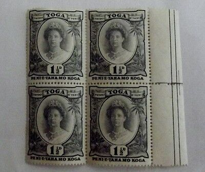 Postage stamps 1 1/2 d Tonga 1935 MNH block of 4 tortoise watermark