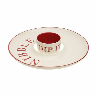 Hollywood Nibble and Dip Set (Stoneware, Red / Cream)