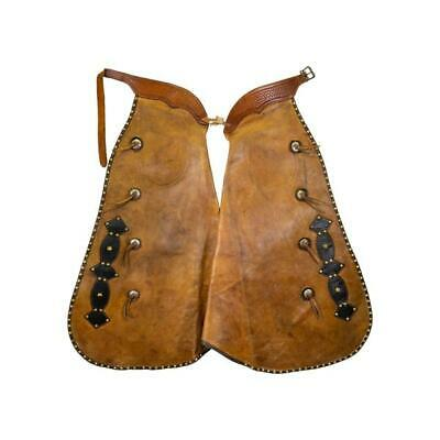 Vintage Old West Cowboy Chaps W/3 Nickel Silver Conchos 100 years old+ 1900's