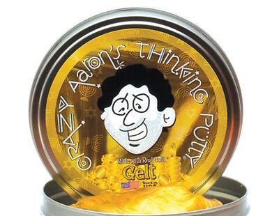"""Crazy Aaron's Thinking Putty Gelt Made With Real Gold New 2"""" Small Tin"""