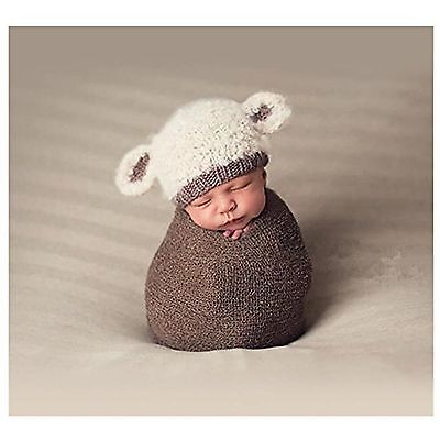 Hobees Cute Newborn Boy Girl Baby Costume Knitted Photography Props Lamb Hat5