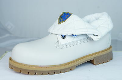 Timberland Roll Top Boys Leather Lace Up Boots - Off White 42776 - UK Size 1