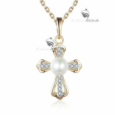 18K Yellow White Gold Made With Swarovski Crystal Pendant Pearl Cross Necklace