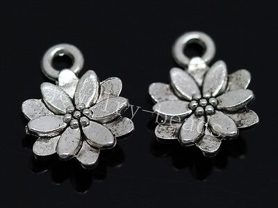 New 30pcs Antique Silver Beautiful Lotus Jewelry Charms Pendant 14x10mm