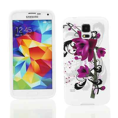 Kit Me Out UK TPU Gel Case for Samsung Galaxy S5 - Black / White / Purple Bloom