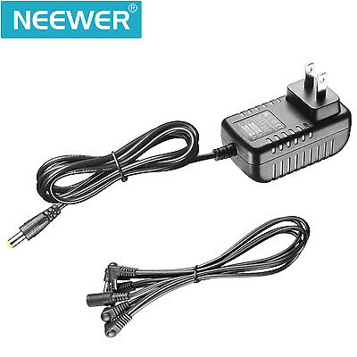Neewer Portable Pedal Power Adapter Supply 9V DC 1A with 5 Way Daisy Chain Cords