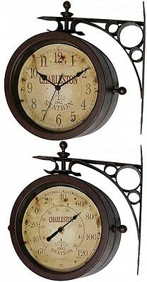Two-sided Rustic Charleston Indoor Outdoor Patio Wall Dial Clock/Thermometer