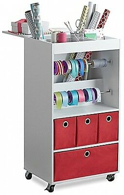 Real Simple Holiday Christmas Gift Wrapping Paper Ribbon Station Storage Cart