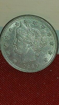 1883 V Nickel Liberty Head First Year US 5 Cent Coin LUSTROUS GOLDEN