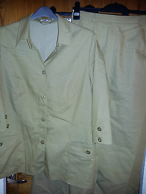 3 pc SUIT JACKET/SKIRT/TROUSERS IN SAGE GREEN SIZE 18 JACKET 14 SKIRT/TROUSERS
