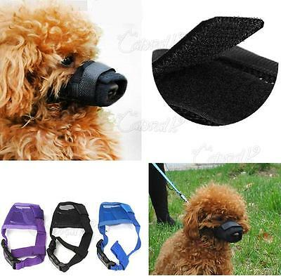 UK Adjustable Dog Safety Muzzle Muzzel Mesh Biting Barking Chewing All Sizes