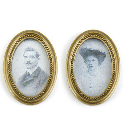 2pcs 1:12 Dolls House Miniature Oval Frame Victorian People Photo Painting