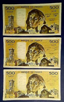 FRANCE: 5 x 500 Francs Banknotes Extremely Fine Condition