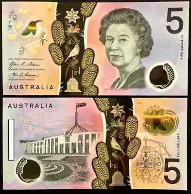 2016 Australia New $5 Note - Consecutive Serial Number Pair (2 Notes)!!!!!!!!!!!