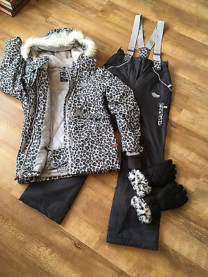 Girls age 12-13 years ski suit jacket / salopettes & gloves