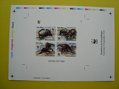 Wwf Mozambique 2016, African-Clawless Otter , Ss 1 Set, Imperforated Proof, Mnh