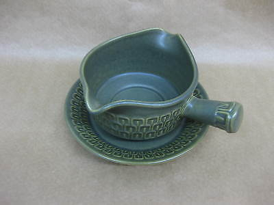 Vintage Wedgwood Cambrian Green Gravy / Sauce Boat / Jug & Saucer ~1970's