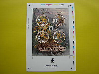 Wwf Togo 2016, Leopard Orchid, Ss 1 Set, Imperforated Proof, Mnh
