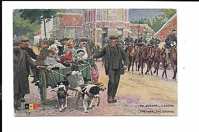 WW1 Belgium War Exodus En Guerre L' Exode  Hand Tinted Postcard With Censor Mark