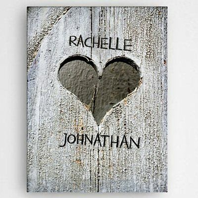 "Personalized 18"" x 24"" Hand Carved Heart Canvas - Perfect Valentine's Day Gift"