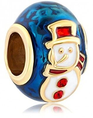 Christmas Gifts Snowman With Red Hat Faberge Egg Charms Beads Sale Cheap Fit