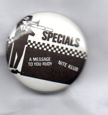 THE SPECIALS Message To You Rudy RARE BUTTON BADGE  2-TONE SKA REVIVAL BAND