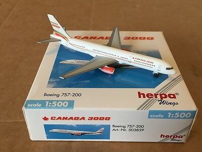 Canada 3000 Boeing 757-200 Aircraft Model 1:500 Scale Herpa Wings RARE