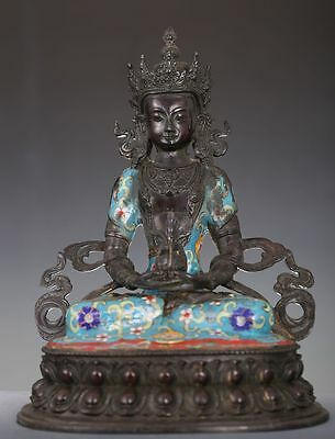 Rare Old Chinese Enamel Bronze Buddha Seated Statue Ed160