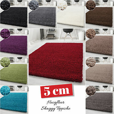 Small - Extra Large Size Thick Modern Plain Non Shed Soft Shaggy Rug Rec & Round