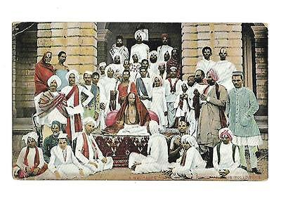 """India  Vintage Postcard  Social History  """"A Madrasee Swami"""" Priest and Followers"""