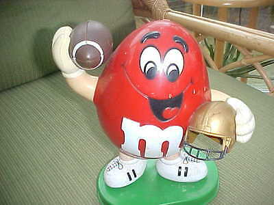 Vintage M&M Red Football Player Candy Dispenser sports Mars Candy