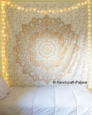 Gold Indian Large Ombre Mandala Tapestry Wall Hanging Bedding Bedspread Decor