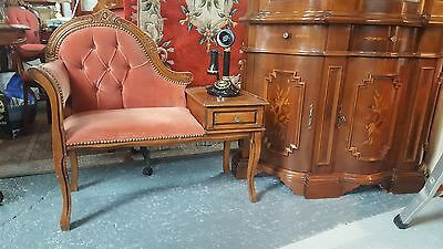 Vintage mahogany 1980's telephone table with drawer