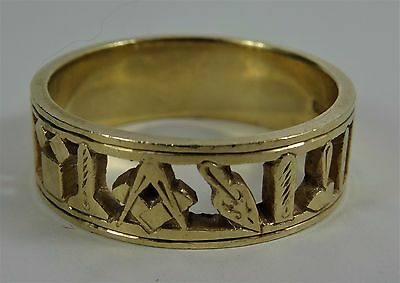 MASONIC 9ct Gold Band Ring Size Z 7.5gr