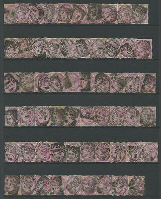 GB 1881-1900 1d Lilacs (shades) used all with squared circle cancels, 100 stamps