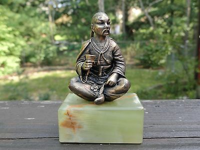 Antique Gorham Sterling Silver Chinese Man Seated Miniature Sculpture