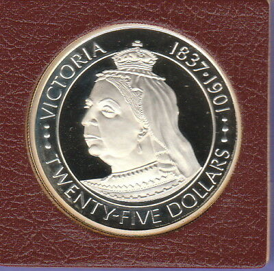 Cayman Islands 25 Dollars Silver Proof Coin 1977 Queen Victoria ,Cat#20,2,720 Mi