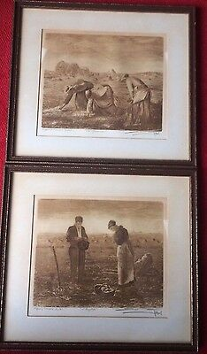 The Gleaners and The Angelus - 2 Framed Prints in the style of J Francois Millet