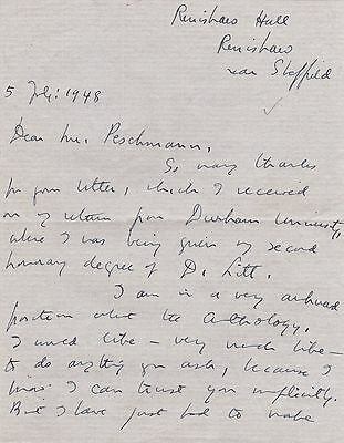 Edith Sitwell Signed Letter On Poetry Anthologies - English Poet