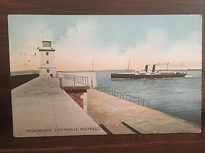 Postcard - Holyhead Lighthouse - Shipping - 1913 - Wales