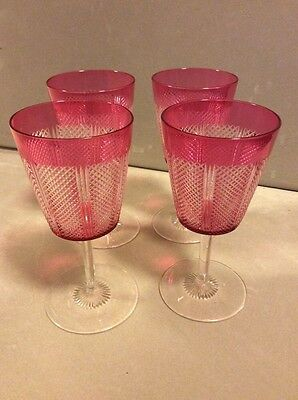 4x antique cranberry cut to clear crystal wine glasses victorian/art deco
