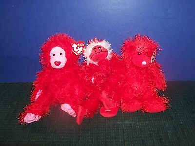 """2 Ty Punkies Red Gorillas-Flame & Siizzle & Red 10""""  Plush Monkey-Valentines Day"""