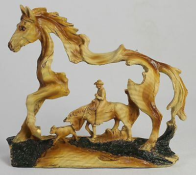 COWBOY IN HORSE FAUX WOOD CARVING Figure Statue NEW Western Art Pony Cattle Cow