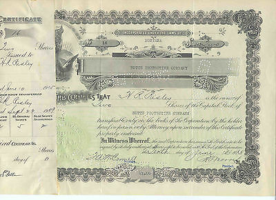 Butte Protective Company, 1915 Stock Certificate #16