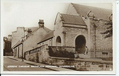 DUNFERMLINE Early RP Fife Postcard Andrew Carnegie Birthplace Memorial