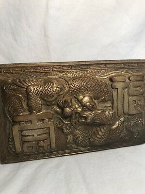 Antique Chinese Or Japanese Bronze Cigar Box Dragons Detailed