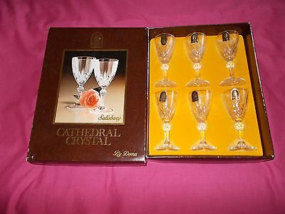 Cathedral 24% Lead Crystal Salisbury Port / Sherry Glasses X 6