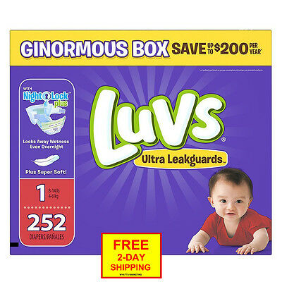 Luvs Ultra Leakguards Newborn Diapers Size 1, 252 Count *Free 2-Day Shipping*