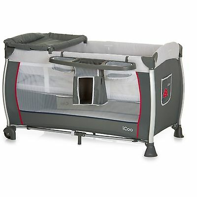 New Icoo Bug Grey Starlight Travel Cot Babycenter With Changer & Raised Bassinet